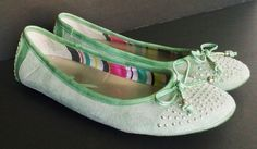 Anne Klein AK Builtin Ladies sz 8 Green Sherbet COLOR Suede Flats Free USA Ship #AnneKleinAK #BalletFlats