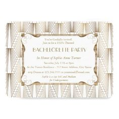Roaring 20s Great Gatsby White Bachelorette Party Card