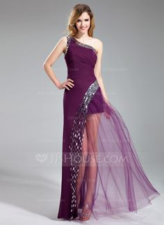 A-Line/Princess One-Shoulder Floor-Length Chiffon Tulle Prom Dress With Sequins (018019685)