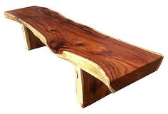"Wood Bench made of untrimmed slab of tree, called a ""live edge"""