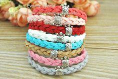 Silver Tortoise Cuff Bracelet Weave leather cord by Evanworld, $1.99
