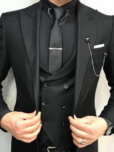 Collection: Spring Summer 19 Product: Slim-Fit Suit Color Code: Black Size: Suit Material: : wool polyester lycra Machine Washable: No Fitting: Slim-fit Package Include: Coat Vest Pants Shirt Tie Chain and Pocket Square Groom Tuxedo Wedding, Wedding Men, Black Tuxedo Wedding, Prom Tuxedo, Wedding Tuxedos, Gothic Wedding, Mens Black Wedding Suits, Men Wedding Suits, Black Prom Suits