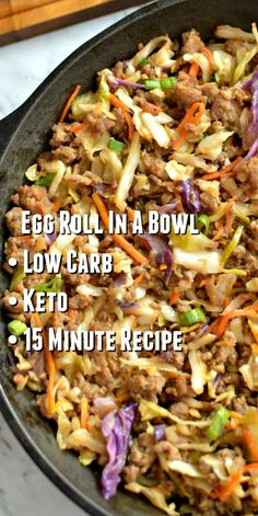 Low Carb Egg Roll In A Bowl – Easy 15 minute keto -friendly recipe that taste just like the real thing! Taste better the next day so feel free to make a big batch! Low Carb Egg Roll In A Bowl – Easy 15 minute keto -friendly recipe that taste just like … Low Carb Recipes, Diet Recipes, Cooking Recipes, Healthy Recipes, Recipes Dinner, Seafood Recipes, Smoothie Recipes, Healthy Foods, Recipies