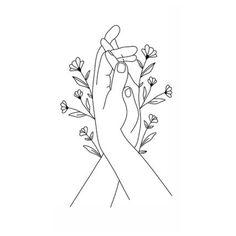 Hand Outline, Outline Art, Line Art Flowers, Flower Art, Hand Holding Tattoo, Hands Holding Flowers, Hand Lines, Simplistic Tattoos, Line Art Tattoos