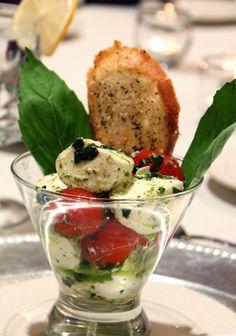 Great serving idea. Martini Caprese Salad
