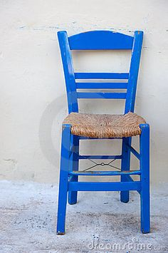 The typical blue Greek chair.