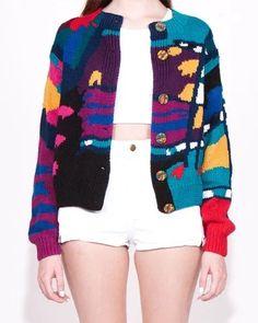 """Vintage Wacky 80's Knit Cardigan. $35.00, via Etsy."" https://sumally.com/p/701811?object_id=ref%3AkwHNPvaBoXDOAAq1cw%3At_Pi"