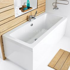 Hudson Reed Deuce Square Double Ended Bath & Legset - Various Sizes Standard Large Image Wooden Bath Panel, Double Ended Bath, Cast Iron Bath, Hudson Reed, Baseboards, Small Bathroom, Bathroom Ideas, Corner Bathtub, Plumbing