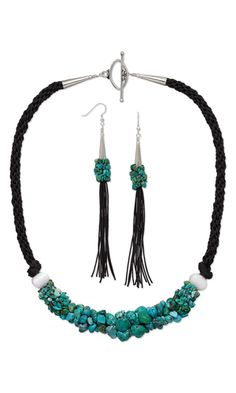 Single-Strand Necklace and Earring Set with Turquoise Gemstone Nuggets and Chips, Dione™ Large Hole Beads and Kumihimo Bugtail Cord - Fire Mountain Gems and Beads