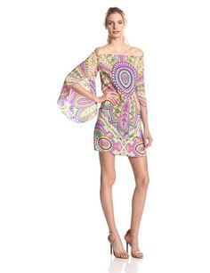 b989e326fcc4 Alice  amp  Trixie Women s Chantal Silk Medallion Paisley 3 4 Sleeve Dress  at Amazon