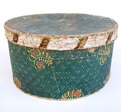 Love antique boxes!  19th Century Early American Antique Wallpaper Boxes