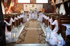 dekoracja kościoła Człuchów  - Chrząstowo dekoracje ślubne Człuchów dekoracje ławek