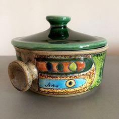 Eduardo Vega Pottery – Fat Lava - 1960's Modernist Suofflé Dish - Sgraffito – Signed Vega - Cuenca, Ecuador – Small Casserole & Lid by OnceTwiceVintageWare on Etsy