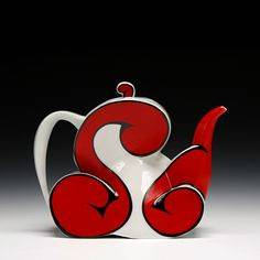 Sam Chung Description:hand built porcelain with clear glaze and Red Teapot, Teapots Unique, Tea Pot Set, Teapots And Cups, Ceramic Teapots, Chocolate Pots, My Tea, Ceramic Artists, Pottery Art