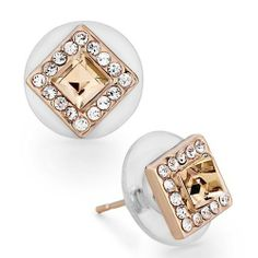 Pugster Rose Gold Square Clear Crystal Golden Shadow Swarovski Crystal Stud Earrings Pugster. $18.49. Money-back Satisfaction Guarantee. Gorgeous Earrings for stud style. Meticulous fine jewelry craftsmanship. Free Jewerly Box,Great to give away as presents, gifts to friends or family members.. For pierced ears