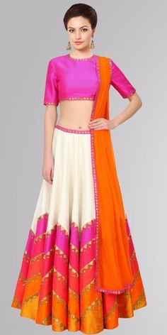 Astounding Pink And Multi Color Silk Lehenga Choli.