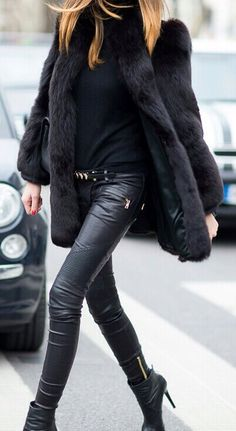 black fur coat + black sweater + black leather leggings + black ankle boots