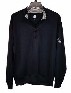 FJ FootJoy Cheyenne Country Club Mens Black Spandex 1/4 Zip Pullover Jacket XL #FootJoy #14ZipPullover