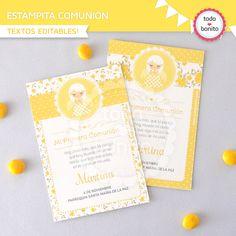 Estampita 1ra comunion amarilla con flores y ángel