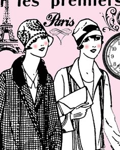 1920s Flapper Fashion (B/W version also!) ~ FREE ViNTaGE DiGiTaL STaMPS