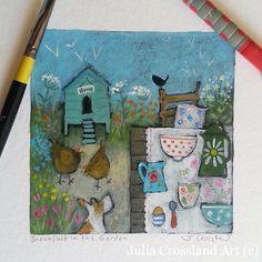 Breakfast in the Garden, original acrylic painting on paper. By Julia Crossland :: www.juliacrossland.co.uk