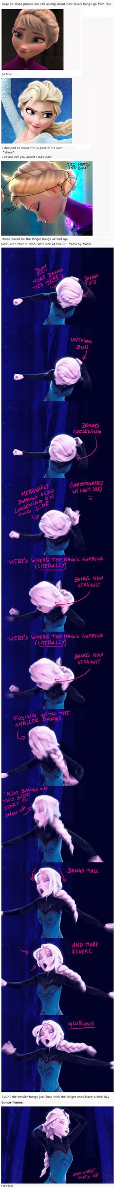 Elsa's magical hair change ... explained it the slow-mo, frame by frame sort of way