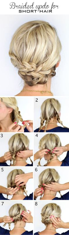 Braided updo for short hair Via