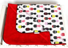 Minky Baby Blanket for Girl and Boy pineapple red  Nuva