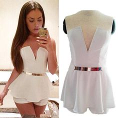 Sexy Women Lady V Neck Jumpsuit Romper Trousers Clubwear Bandage(China (Mainland)) Sexy Outfits, Cool Outfits, Casual Outfits, Casual Clothes, Clubwear, Stylish Dresses, Fashion Dresses, Bodycon Dress With Sleeves, Jumpsuits For Women