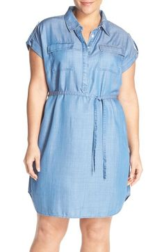 Two by Vince Camuto Tencel® Lyocell Chambray Shirtdress (Plus Size) available at #Nordstrom