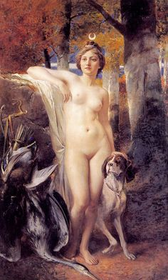 The Goddess Diana with her hunting dog, by Ferdinand Wagner