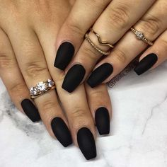 we like to browse with you the most amazing Trendy Black Coffin Nails Art Styles and ideas for this year that you can copy and try. Our top black coffin nails are packed with glitter black nails, ombre, marble nail art and more. Acrylic Nails Coffin Short, Black Coffin Nails, Matte Black Nails, Coffin Shape Nails, Cute Acrylic Nails, Fun Nails, Nails Shape, Nail Black, Cuffin Nails