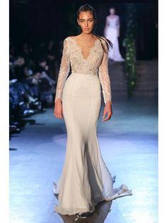 Pretty V-neck Natural Train Chiffon Ivory Long Sleeve Wedding Dress with Appliques LWXT150B9 #weddingdress #landybridal