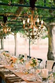 Wedding Ideas: chandelier-outdoor-wedding exposed wood tables with long runner. combining chandelier with other lights is interesting.