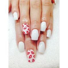 Cute valentines day nail art ideas!  #kiss #lipstick #love
