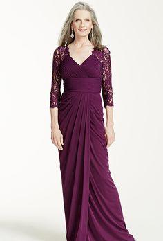 David's Bridal. Long sleeve V neck stretch taffeta dress.��See More David's Bridal Mothers Dresses