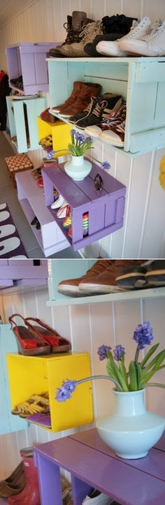 DIY Shoe Wall Storage System- for a mud room or walk in closet. Wall Storage Shelves, Wall Storage Systems, Storage Ideas, Shelving, Home Projects, Craft Projects, Projects To Try, Modern Crafts, Diy And Crafts
