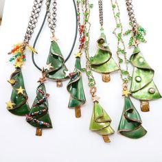Grove of little enamel Christmas Trees!