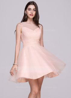 A-Line Princess Scoop Neck Short Mini Ruffle Beading Flower(s) Sequins  Bow(s) Zipper Up at Side Regular Straps Sleeveless No Pearl Pink Spring  Summer Fall ... c0ac98f21bd8
