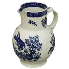 Worcester Blue and White Parrot and Fruit Decorated Jug ca. 1770 | From a unique collection of antique and modern ceramics at http://www.1stdibs.com/furniture/dining-entertaining/ceramics/