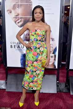 Bold and bright: Naomie Harris pulled out all the stops for her big night as she attended ...