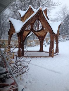 Brilliant DIY-er Builds A Gazebo Fit For A Fairytale Wedding. This rustic gazebo makes a stunning destination for a winter wonderland wedding. Intricately carved leaves and trees within the structure add a level of whimsy to this already stunning piece. Garden Gazebo, Garden Art, Garden Design, Garden Paths, Diy Wedding Gazebo, Wedding Rustic, Garden Wedding, Wedding Ideas, Shed Conversion Ideas