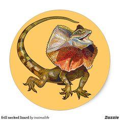 Shop frill necked lizard classic round sticker created by insimalife. Vermilion Bird, Pokemon, Curious Creatures, Mythological Creatures, Round Stickers, Constellations, Custom Stickers, No Frills, Cute Art