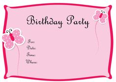 Free printable party invitations free pink butterfly girls birthday birthday card templates amusing free birthday invitation cards templates 22 for birthday stopboris Image collections