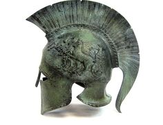 Armour & Weapons :: Full Size Helmets :: Ancient Greek life size helmet from the famous city of Sparta,dated 440 B.C. Exact museum reproduction, $549.00 (side view)