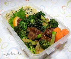 """This orange """"beef"""" and broccoli is actually seitan, known as 'wheat meat'. It's made from kneading the starch out of glutinous flour. Bento's are great places to experiment with vegetarian and vegan dishes."""
