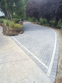 Western Interlock, charcoal with pewter border Stone Driveway, Teen Rooms, Backyard Patio, Pewter, Charcoal, Sidewalk, Garden, Nature, Ideas