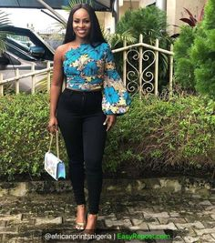 Smart Ways to Combine Ankara Tops With Jeans In 2020 African Fashion Ankara, Latest African Fashion Dresses, African Print Dresses, African Print Fashion, Africa Fashion, African Dress, African Print Pants, African Prints, African Fabric