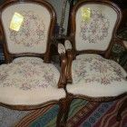 Pair+of+Antique+Victorian+Walnut+Parlor+Chairs+Arm+Chairs+Needlepoint+$299