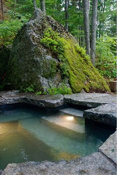 Great continuity between natural and cut granite for a woodland pool.